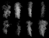 Set of different clouds of smoke