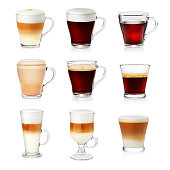 Set of different types of coffee