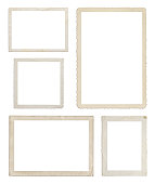 Set of different wood frames in white background