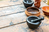 set dishes mortar with pestle black