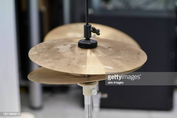 set of drummer cymbals in recording studio. - percussion mallet stock pictures, royalty-free photos & images