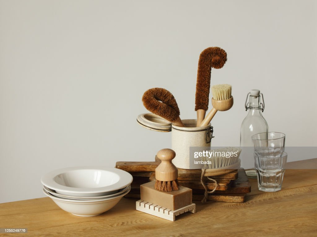 Set Of Ecofriendly Kitchen Cleaning Tools High Res Stock Photo Getty Images