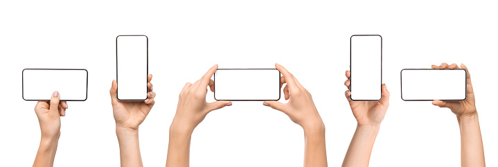Set of female hands holding smartphone with blank screen 1181593055