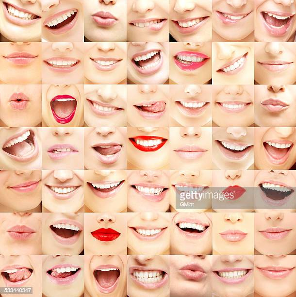 set of female lips - human mouth stock pictures, royalty-free photos & images