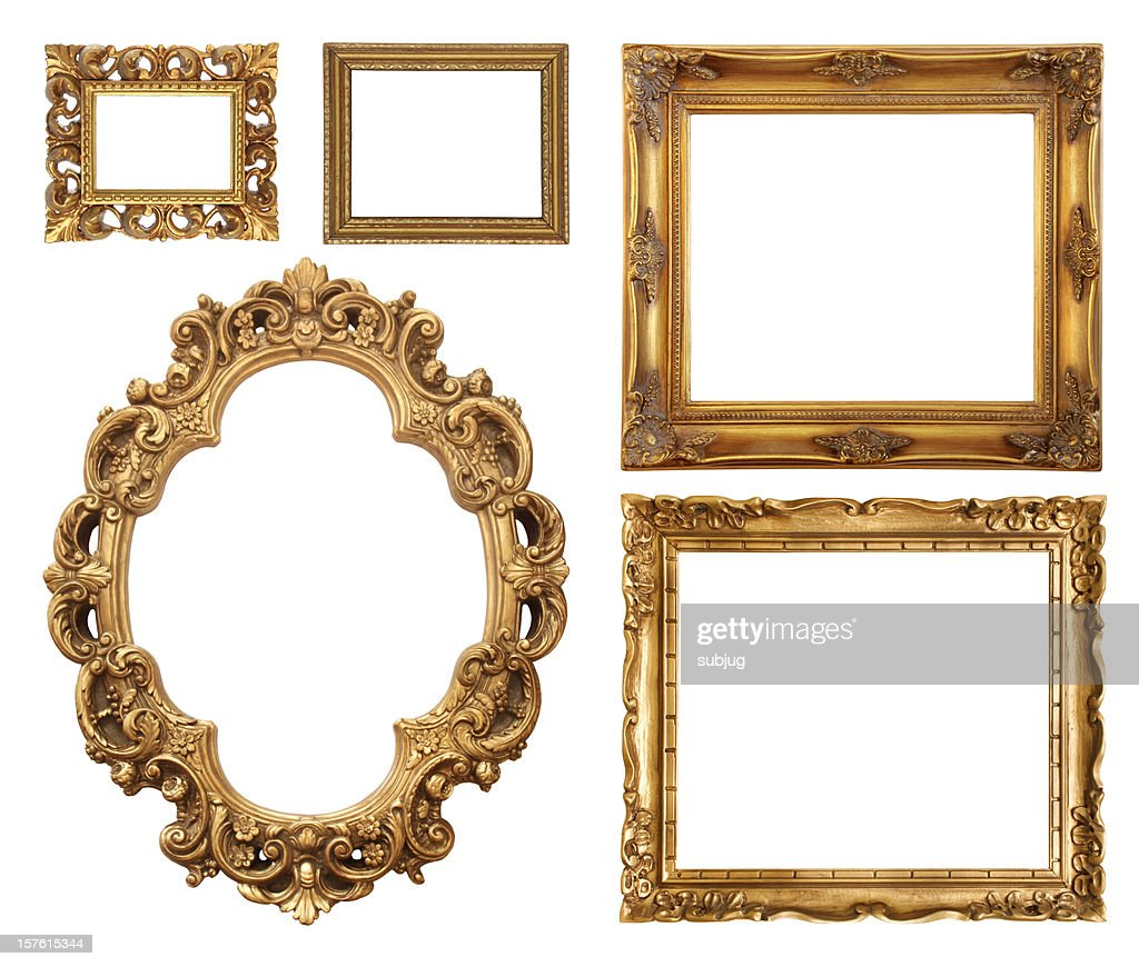 Set of five gold frame designs : Stock Photo
