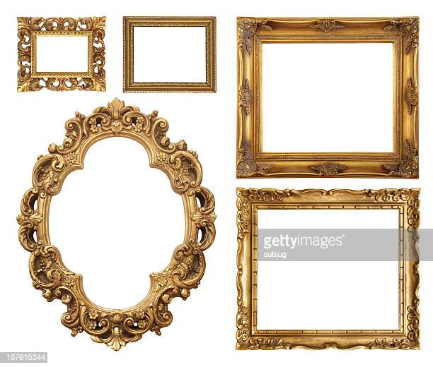 set of five gold frame designs - frame stock pictures, royalty-free photos & images