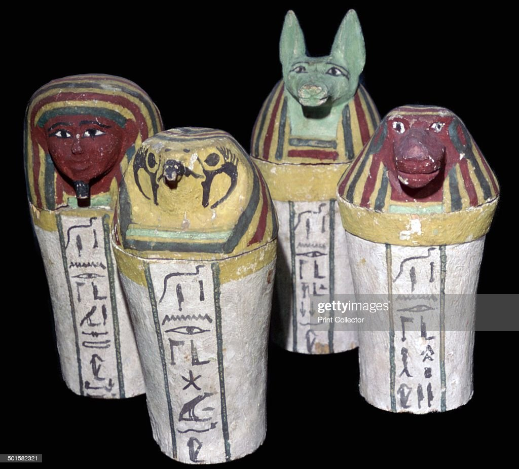 Set of four canopic jars for the storage of organs the heads representing the four  sc 1 st  Getty Images & Egyptian set of four canopic jars. Pictures | Getty Images
