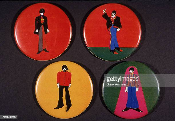 Set of four pinbacked buttons to promote the animated movie 'Yellow Submarine' 1968 The buttons depicted cartoon renditions of the member of the...