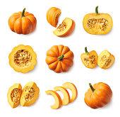 Set of fresh whole and sliced pumpkin