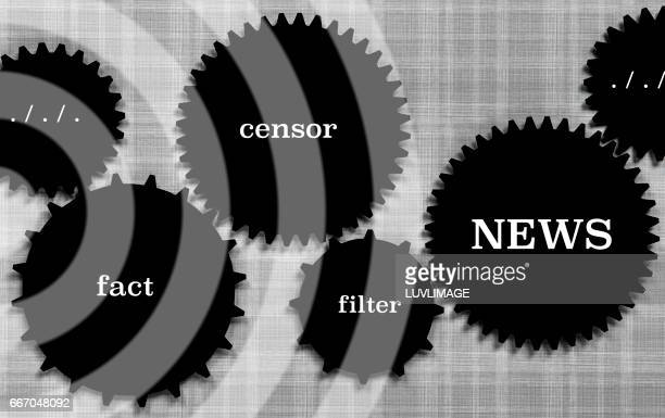 Set of gears with words concerning the news-coverage.