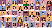 Set Of Happy Millennial People Portraits On Different Colored Backgrounds