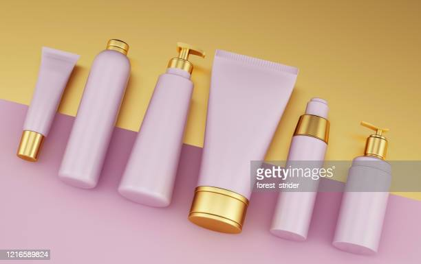 satz von gesundheits-kosmetik-vorlage - hergestellter gegenstand stock-fotos und bilder