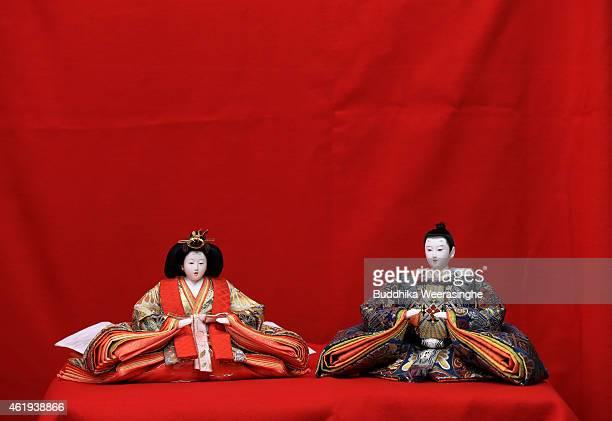 A set of Hina dolls are displayed ahead of Hinamatsuri at an outlet of the Izui Ningiyou doll workshop on January 22 2015 in Kato Japan Hinamatsuri...