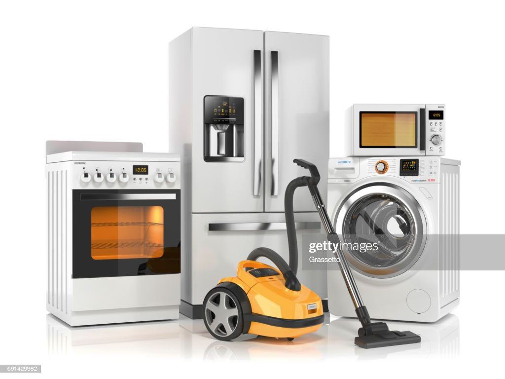 Set of home appliances. Refrigerator, washing machine, microwave oven, stove and vacuum cleaner : Stock Photo