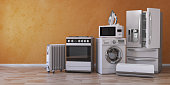 Set of household kitchen technics on yellow background. Set of appliance in the new appartments. E-commerce online internet store and delivering of appliance concept.