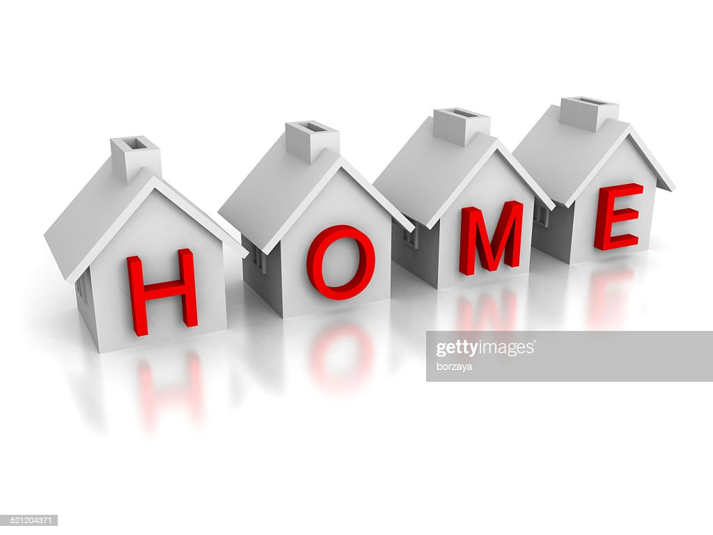 Set Of Houses With Red Text Home Word Stock Photo - Getty Images