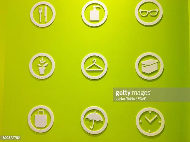 Set of icon on green background