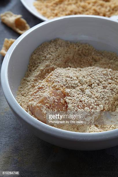 set of ingredients for fried chicken - chicharrones fotografías e imágenes de stock