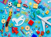 Set of kids toys on blue background