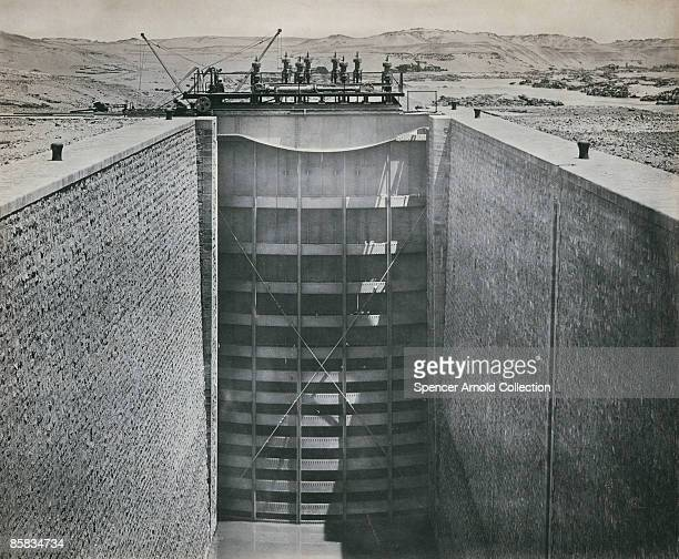 Set of lock gates on the Aswan dam, southern Egypt, circa 1902.