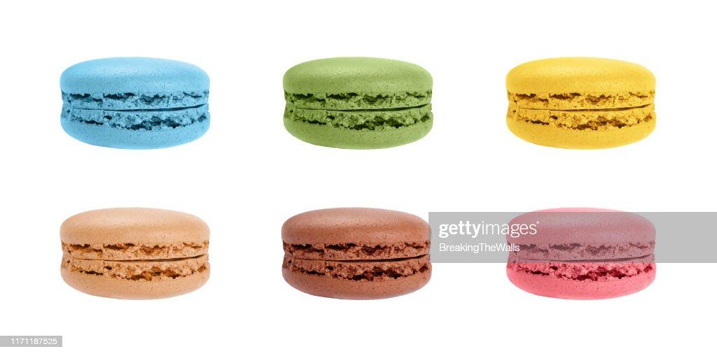 Set of macaron cookies isolated on white : Stock Photo