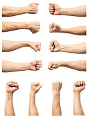 Set of male's fist isolated on white background