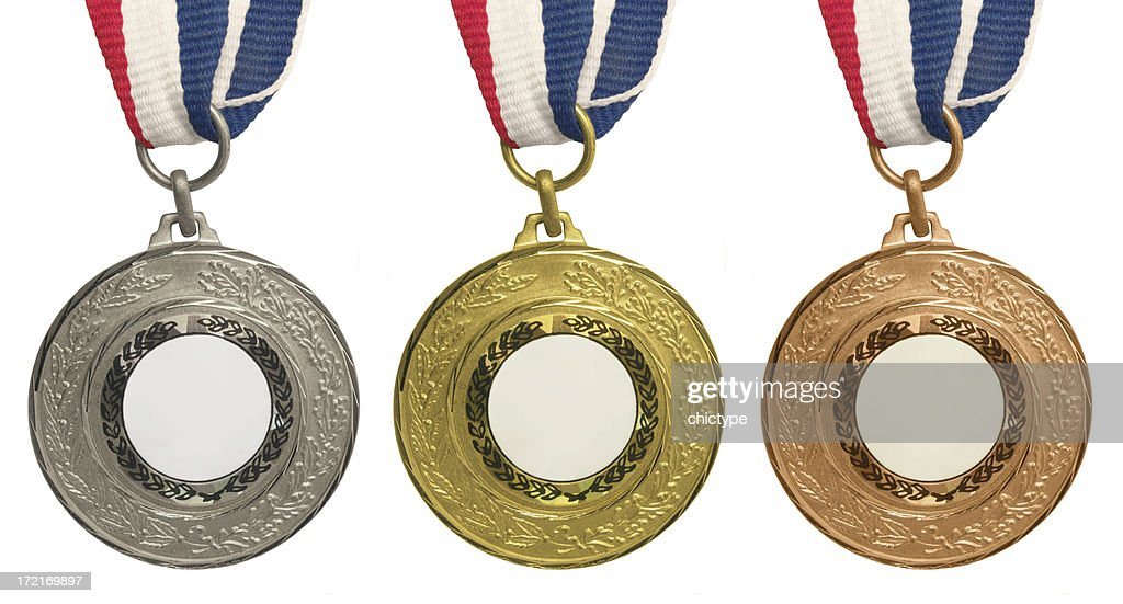 Set of medals – Gold, Silver and Bronze : Stock Photo