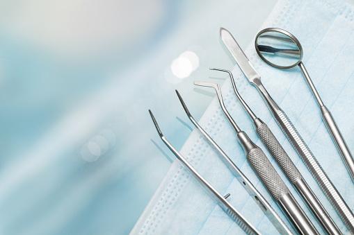 Set of metal Dentist's medical equipment tools 639693680