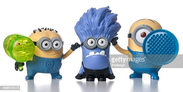 set of minions mcdonalds happy meal toys - happy meal stock photos and pictures