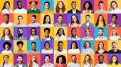 Set Of Mixed Race People Portraits Smiling On Different Backgrounds