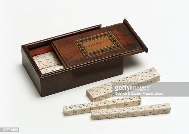 Set of Napier�s rods in a wooden box John Napier discoverer of logarithms created the popular calculating tool known as Napier's rods or bones...