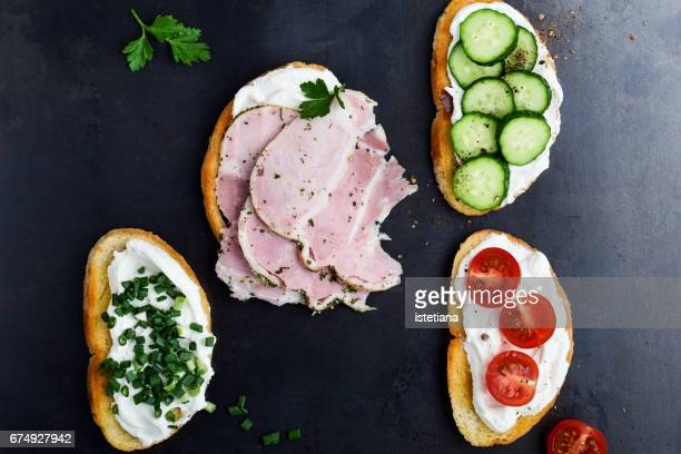 Set of open sandwiches