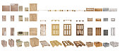 A set of pallets, boxes and cartons. Top view, side view, front view and perspective. Isolated on white background.