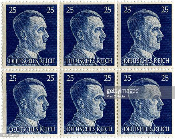 Set of postage stamps featuring Adolf Hitler 19411942 Hitler was appointed Chancellor of Germany in 1933 and became Führer in 1934 He pursued an...