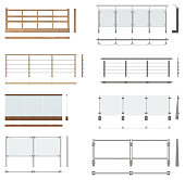 Set of railing fences. Front view, top view, side view.