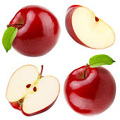 Set of red apple whole pieces isolated on white background