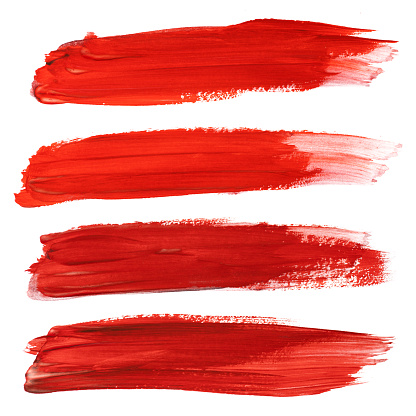 Set of red stroke brushes isolated on white 1124310599