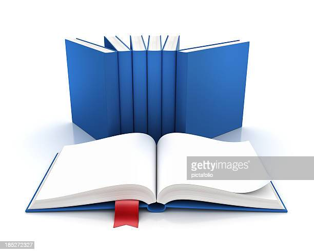 Set of seven blue books with one open to a blank page