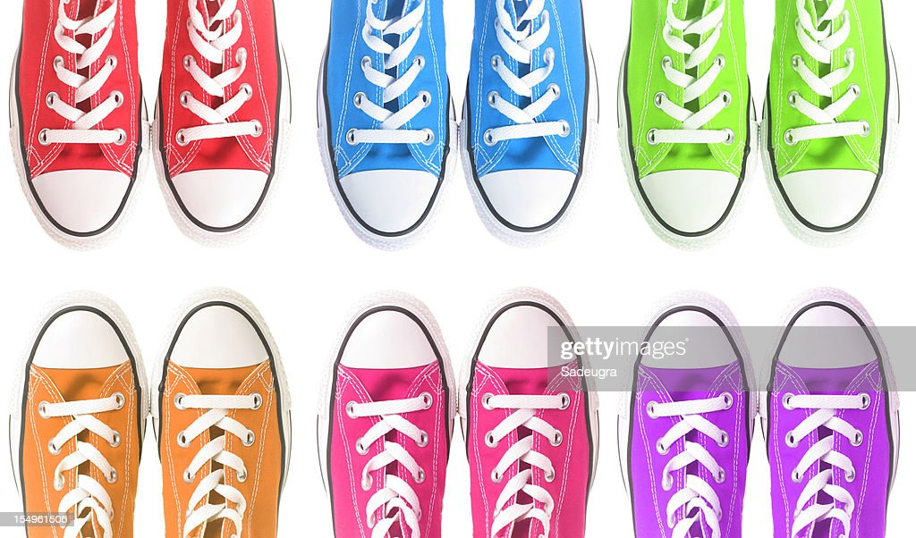 Set of six colorful sneakers over a white background : Stock Photo