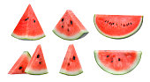 set of sliced red watermelon isolated on white background