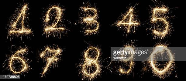 Set of sparkling glowing numbers