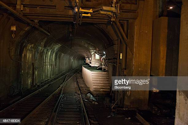 A set of stairs sits next to the entrance of the north tube of the North River Tunnel under the Hudson River in New York US on early Friday morning...