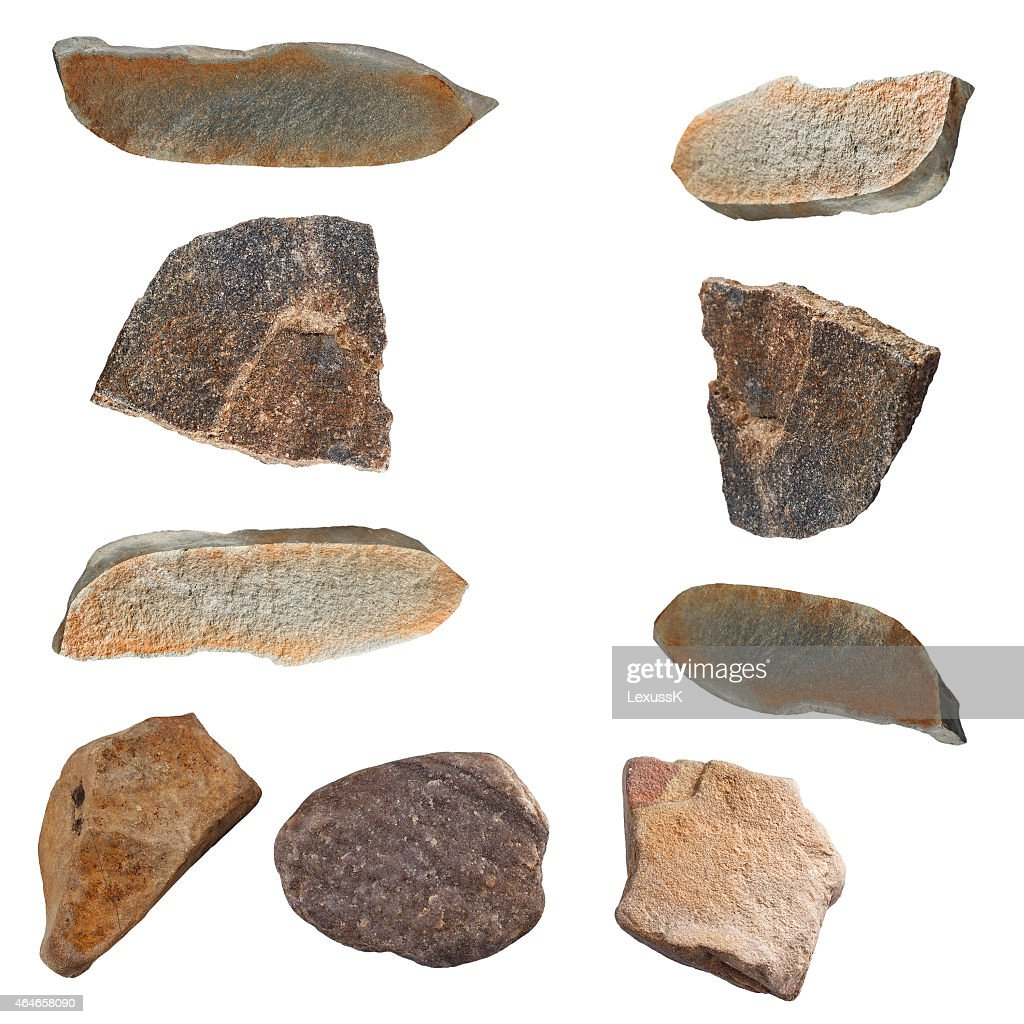 Set Of Stones Isolated On White Background Natural Minerals