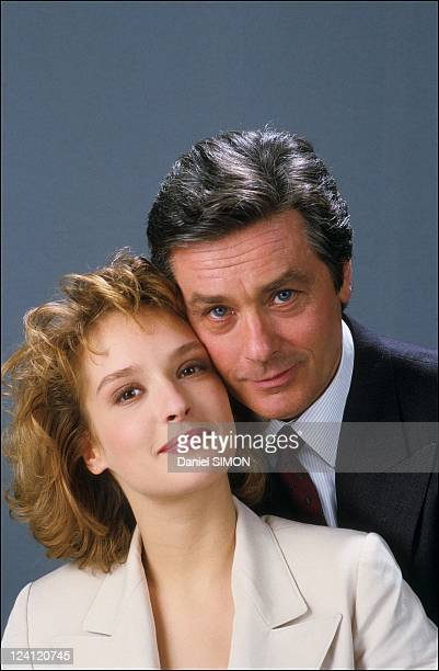 Set of the mini serie 'Cinema' In France In February 1988 Alain Delon with Ingrid Held