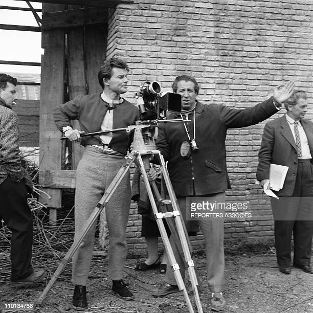 Set of the movie 'Les aventures de Till l'esPiegle' by Gerard Philipe and Joris Ivens in 1956 Gerard Philipe behind the camera for the first time in...