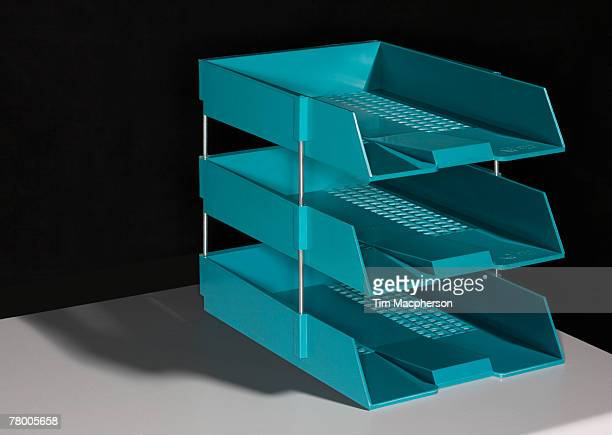 set of three in and out trays sitting on a table. - inbox filing tray stock pictures, royalty-free photos & images