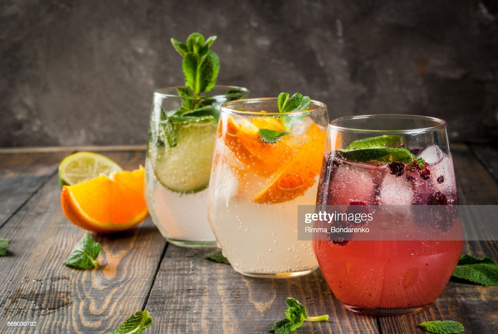 Set of three kinds of gin tonic : Stock Photo