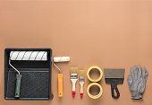 set tools for painting beige background