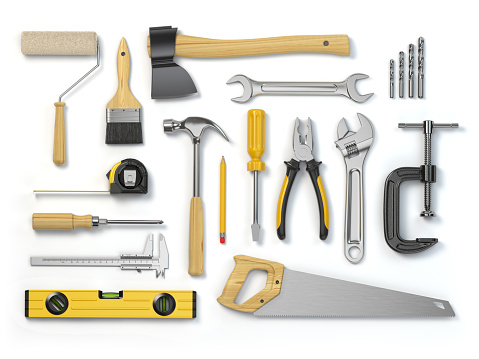 Set of tools isolated on white background. Hammer, screwdriver, brush, spanner pliers, measure tape. 914608908