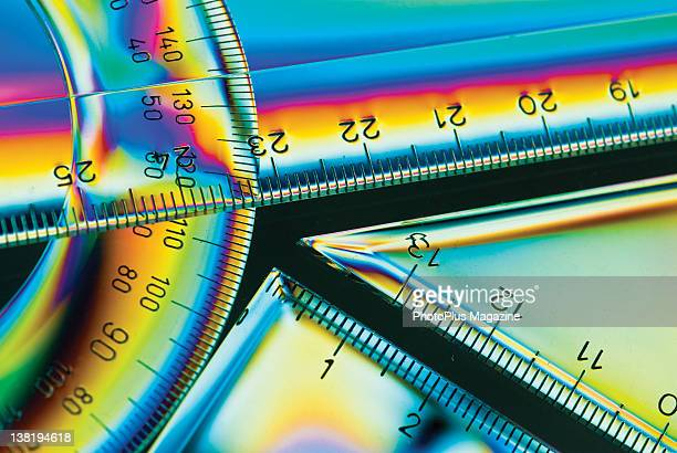 A set of transparent plastic rulers shot with a crosspolarisation effect taken on July 24 2008